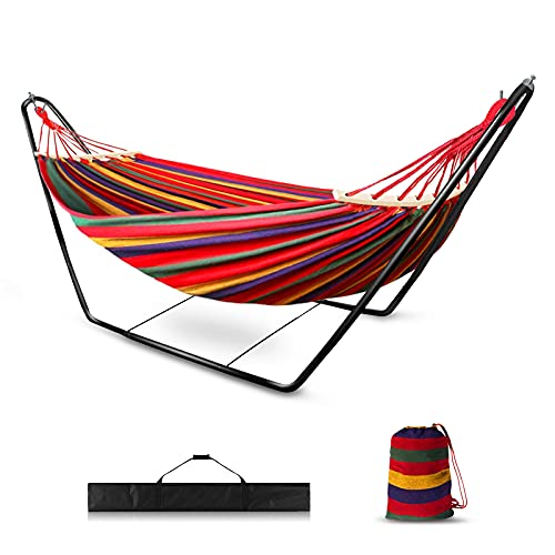 Hängematte mit Gestell, Hängemattengestell 200x150cm für Outdoor Indoor Garten Camping Reisen Wandern Seaside (Rot)