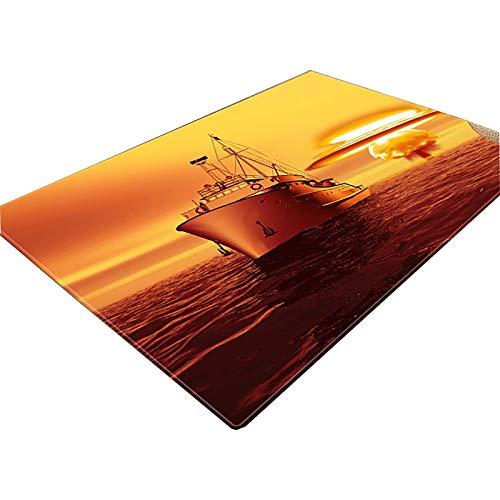 NgMik 3D Vision Teppich 3D Ozean Printing weiche Unterseite Teppich Wohnzimmer Couchtisch Absorbent Teppich Schneiden Anti-Rutsch-Schlafzimmer-Bett-Matten 05 Rutschfester Teppich