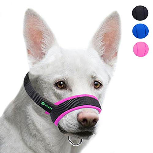 Lepark Dog Muzzle with Fabric for Small, Medium and Large Dogs, Anti Biting, Chewing, Adjustable Neck, Breathable(S, Pink)