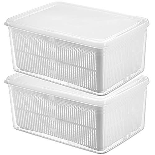 Nevera Caja de almacenamiento, Alimentos y separación de agua, de alimentos frescos de mantenimiento de anuncio Organizador de contenedores con tapas, dos capas interior y exterior,L