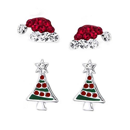 SL-Silver Set di 2paia di orecchini a forma di cappello di Babbo Natale, realizzati in argento Sterling 925, con scatolina regalo