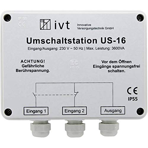 Unbekannt IVT Umschaltstation US-16 3600 VA 400034 160 mm x 145 mm x 77 mm Passend für Modell (Wechselrichter):Universal