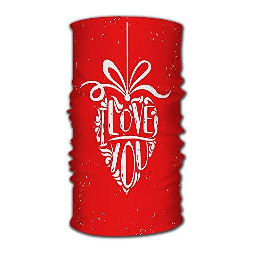 Quintion Robeson Diadema Bandanas Día de San Valentín Te Amo Corazón Diario Bufanda mágica Cuello Polaina Pasamontañas Casco Forro Cara a Caballo