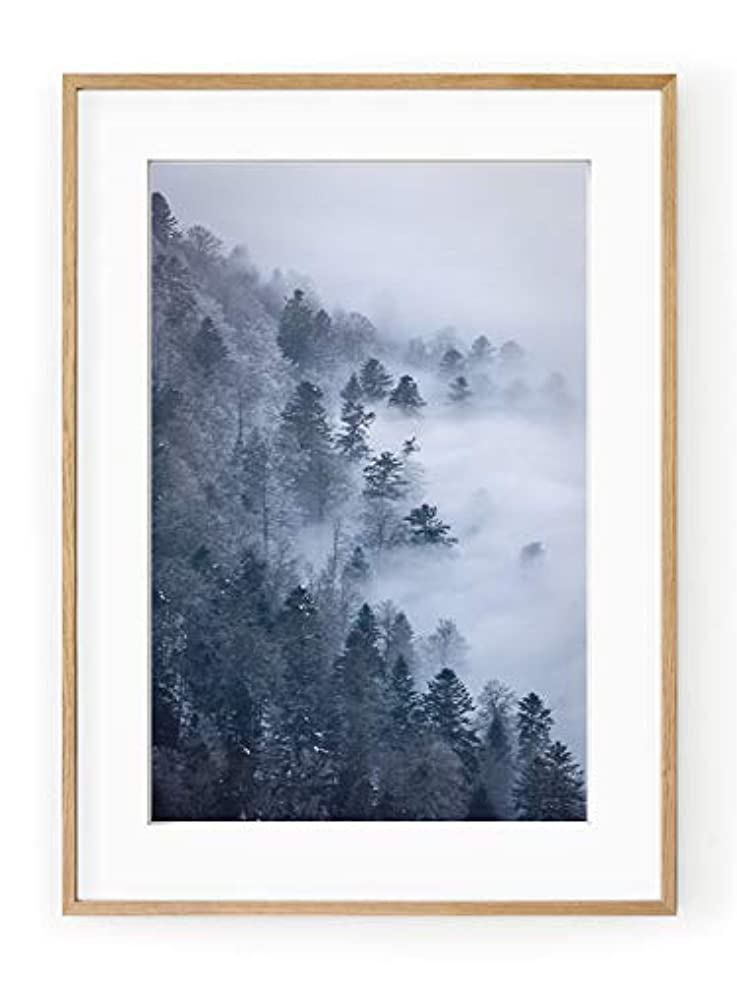 Pyrenean Mist White Lacquer Wooden Frame with Mount, Multicolored, 50x70