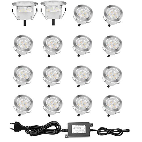 Lot de 16 Spots LED Encastrable pour Terrasse Bois, Etanche IP67, Spots à Encastrer Extérieur, 0,6W DC12V, Lumière Blanc, Kit Mini Lampe pour Chemin Contremarches d'escalier Plafond