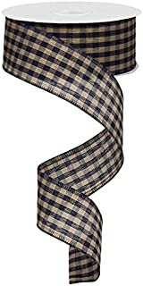 Primitive Gingham Check Wired Edge Ribbon, 10 Yards (Navy Blue, Tan, 1.5