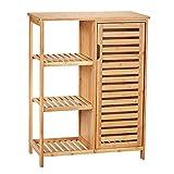 VIAGDO Kommode Sideboard Bambus Küchenschrank mit 3 offenen Ablagen, Badezimmerschrank, Badschrank aus Holz, Beistellschrank, Flurschrank, Küche, Wohnzimmer, Esszimmer, Büro,Badezimmer,Flur 66x33x87cm