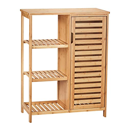 VIAGDO Bathroom Storage Cabinets with Doors and 3 Side Shelves, Bamboo Floor Cabinet Utility Storage Shelves for Living Room, Bedroom, Hallway, Kitchen, Free Standing Storage Cabinet Furniture