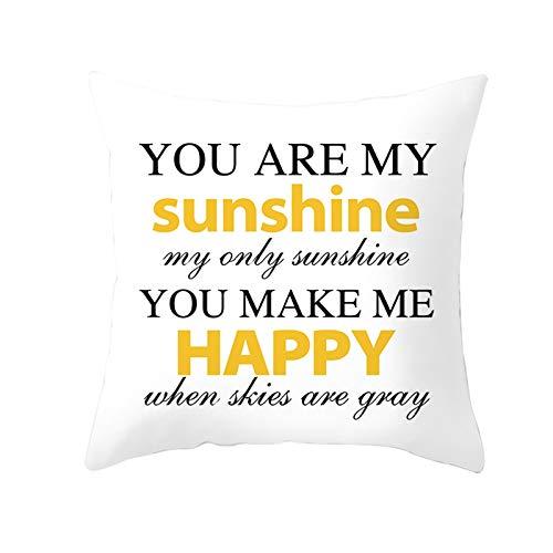 KnBoB Funda de Almohada You Are My Sunshine... Poliéster Amarillo Negro 50 x 50 cm Estilo 30