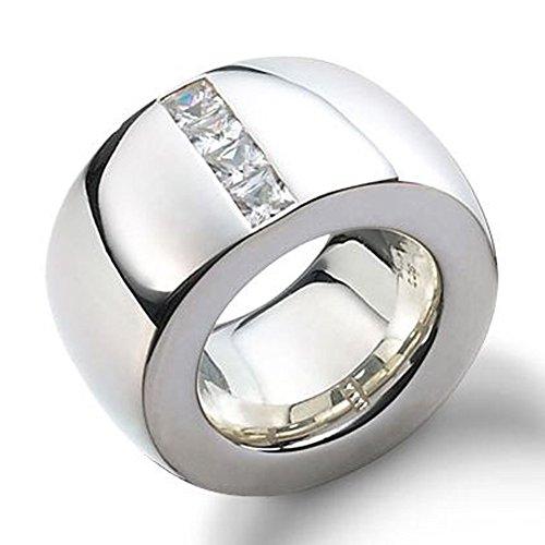 Joyas de diseño skielka Anillo de plata circonios oro forja (plata de ley 925) - macizo Anillo de plata 15 mm de ancho