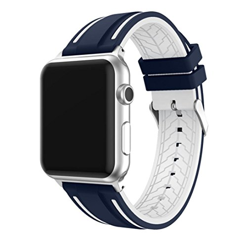 Correa para Apple Watch 42mm Series 5/4/3/2/1 Correa de Reemplazo Silicona Suave para Reloj iWatch, Ajustable Banda Transpirable con Estilo Deportivo, Sport Band para Apple Watch, Azul y Blanco
