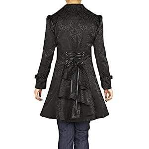 (XS, SM, LG, 18, 20, 26) Foggy Night in Paris – Black Steampunk Victorian Gothic Corset Ruffle Jacquard Jacket