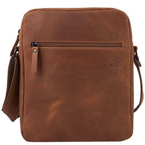 JP Journey Umhängetasche Leder Tablet iPad bis 11 Zoll, RFID Blocker Fach, Herren Damen, 28cm, 3.5 L, Braun Vintage