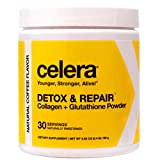 Celera Detox & Repair - Collagen + Glutathione Powder for Immune Support - Antioxidant Drink for Detox, Skin Health, Anti-Aging & Cell Repair, Sports Performance - Coffee Flavored