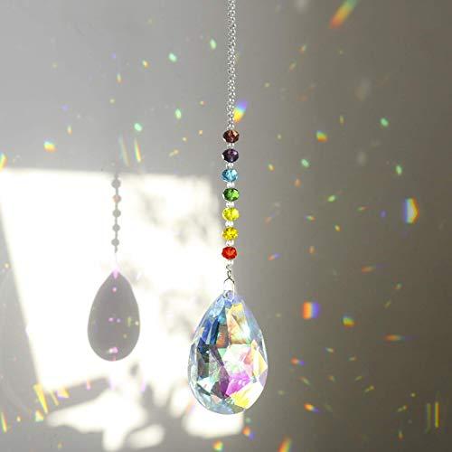 H&D HYALINE & DORA Chakra Kristall-Sonnenfänger zum Aufhängen, mit 76 mm Prisma (Bauhinia)