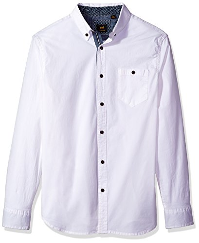 Lee Men's Button Down Shirt Long Sleeve Brady Dress Regular Big Tall, White, XX-Large