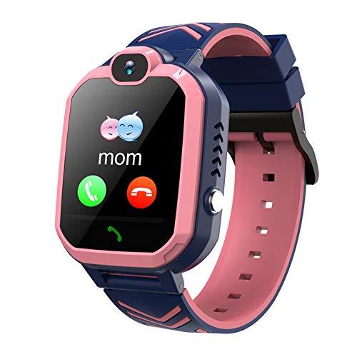YNLRY Reloj inteligente para niños con tarjeta de llamada telefónica con posicionamiento SOS y chat de voz con 8 juegos de rompecabezas para regalo para niños (color rosa