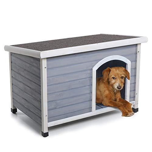 Cabaña Petsfit para perros, de madera, protección en exteriores, color rojo