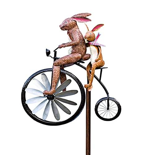 MItrilifi Accessories Vintage Fahrrad Metall Wind Spinner Metal Cyclone Stehender Vintage Fahrrad auf Wind rotierende Windmühle Gartenarbeit Ornamente Garten (Color : D)