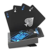e claro, Tarjetas Tarjetas Tarjetas, Tarjetas Impermeables Jugando, Tarjetas Impermeables Brillante En La Oscuridad, 54 unids impermeable PVC Pure Black Black Plastic Tarjetas de juego Set Deck Poker