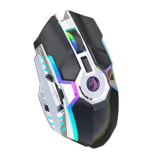 AZPINGPAN Cordless Wireless Mouse, Rechargeable RGB Luminous Cordless Mouse for Laptop,2.4G Ergonomic Design Gaming Mouse,Three-Speed Dpi Adjustment