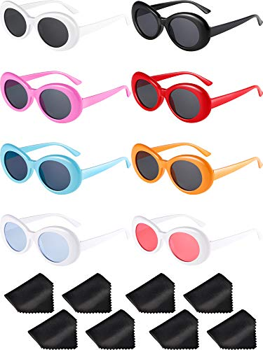 Gejoy 8 Pairs Clout Oval Goggles Retro Kurt Mod Thick Frame Round Lens Sunglasses Goggles Multicolor for Women Men (Color A)