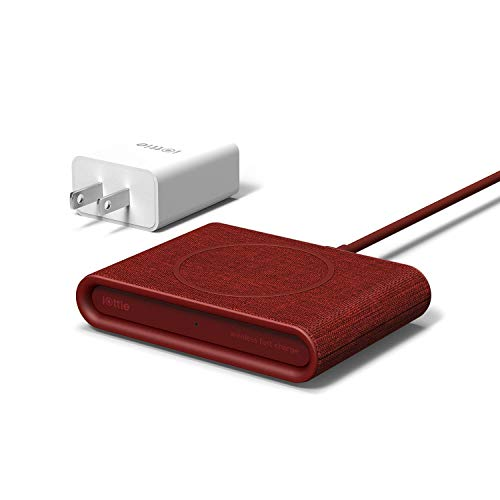 iOttie iON Wireless Mini Fast Charging Pad || Qi-Certified Charger 7.5W for iPhone XS Max R 8 Plus 10W for Samsung Galaxy S10 E S9 S8 Plus Edge, Note 9 | Includes USB C Cable & AC Adapter | Ruby