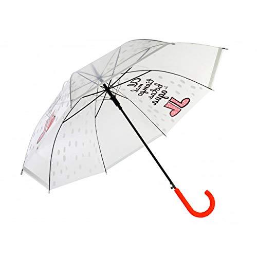 Hogar y Mas Paraguas Transparente de PoE y Acero Inoxidable con Frase Divertida y Original Happy Rain