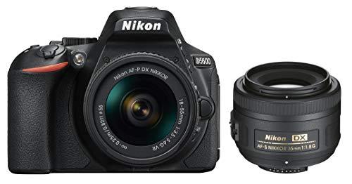 Nikon D5600 Kit AF-P DX 18-55 mm und AF-S DX 35 mm 1:1,8G (24,2MP, 3,2 Zoll neig- und drehbarer Touchscreenmonitor, kabellose Bildübertragung per App)