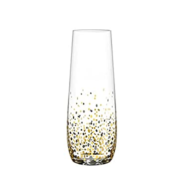 Fitz and Floyd Confetti Stemless Flutes (Set of 4), Black/Gold