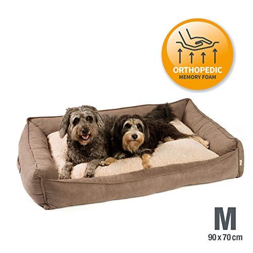JAMAXX Premium Hundebett Orthopädisch Memory Visco Schaum Waschbar Wendekissen Wasserabweisend/Hundekörbchen Weicher Samtartiger Sofa Stoff Hundekissen Hundekorb PDB2002 (90x70 (M), braun)