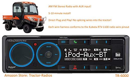 Kubota Tractor Radio Direct Connect AM FM AUX Plug and Play Stereo RTV B2650 RTX 1100 KX080 RTV-1100 RTV-X1100C