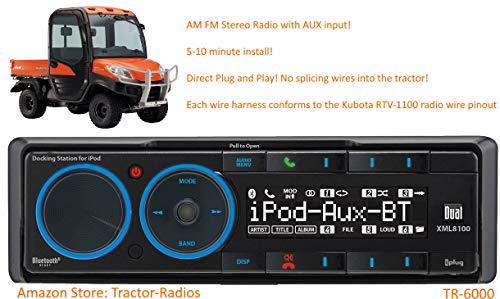 Kubota Tractor Radio Direct Connect AM FM AUX Plug and Play Stereo RTV B2650 RTX 1100 KX080 RTV-1100 RTV-X1100C