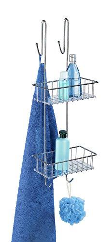 WENKO Duschcaddy Aldo 2 Etagen Duschablage, für Duschgel, Shampoo & Co., Hängekorb fürs Badezimmer, Befestigung ohne Bohren, rostfreier Edelstahl, 24,5 x 70 x 20 cm