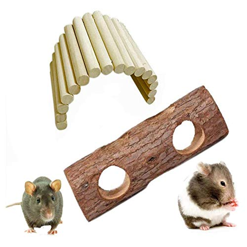 kathson Wooden Ladder Hamster Chew Bridge Toy,Syrian Hamster ramp Forest Hollow Tree Trunk Tunnel Tube Toy for Chinchillas Guinea Pigs Dwarf Mouse Rat mice Small Animal Chew Toy (2Pack)