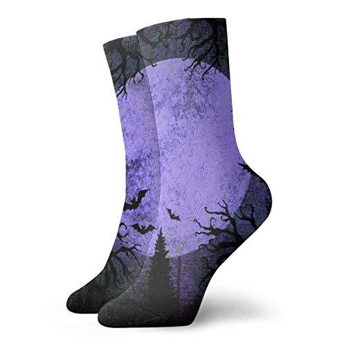 NGMADOIAN Socken Socken Halloween Holiday Grunge Vollmond Silhouetten Fledermäuse und schreckliche tote Bäume auf dunklem gruseligen Nachthimmel Gedruckte Sport Athletic Socken 30Cm lang