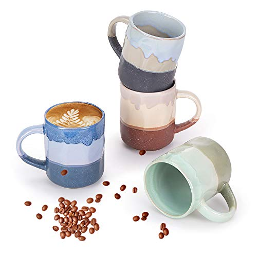 Cutiset 15 Ounce Ceramic Lava Mugs, Unique Glazed Microwave Safe and Oven Safe Coffee Mug Set of 4,...