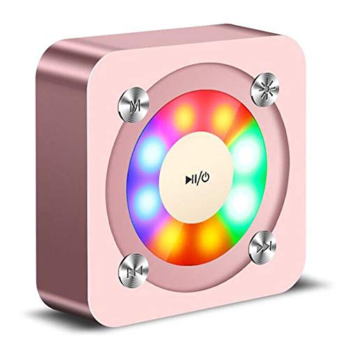 Mini tragbare Bluetooth-Lautsprechersäule 3D Stereo-Subwoofer-Resonanzkörper LED-Licht mit Mikrofon TF-Karte Wireless-Lautsprecher für Home Party Auto und Reisen (pink)