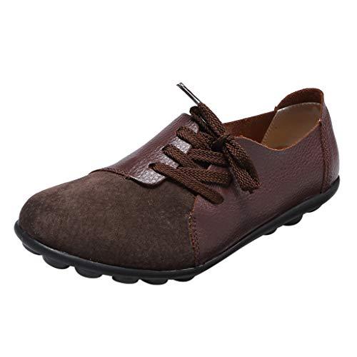 Dorical Damen Classic Mokassins Bootsschuhe Kunstleder Loafer Halbschuhe Flache Segelschuhe Low Top Sneakers Schnürsenkel Arbeitsschuhe Breathable Gr 35-44(Kaffee,44 EU)