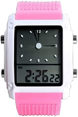 Girls Cute Pink Led Digital Sport Watch Dual Time Zone Analog Silicone Wristwatch Nice New Women product image