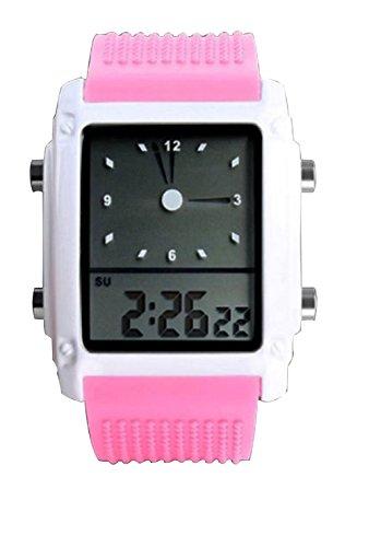 niñas Rosado Lindo Deporte llevó el Reloj Digital de Pulsera de Silicona Hora Dual analógico Reloj Agradable Zona de Las Nuevas Mujeres