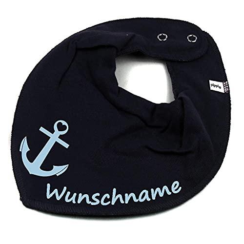 HALSTUCH ANKER mit Namen oder Text personalisiert dunkelblau für Baby oder Kind