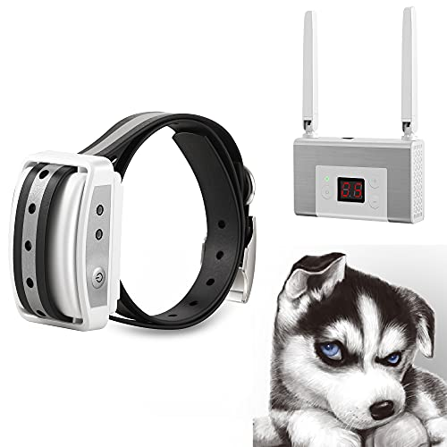Blingbling Petsfun Electric Wireless Dog Fence System, Pet Containment System with Waterproof and Rechargeable Training Collar Receiver for 1 Dogs Pets Container Boundary(White)