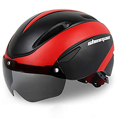 Shinmax Bike Helmet, Bicycle Helmet Men/Women CPSC Safety Standard with Detachable Magnetic Goggles Adjustable for Adult Road/Biking/Mountain Cycling Helmet BC-001 Bonus Carrying Bag (BlackRed)