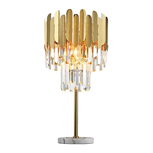 Yinyimei Floor Lamp Postmodern Art Deco Stainless Steel Crystal Marble Golden LED Lamp LED Light LED Floor Lamp Floor Light For Bedroom (Lampenschirm-Farbe : Table lamp)