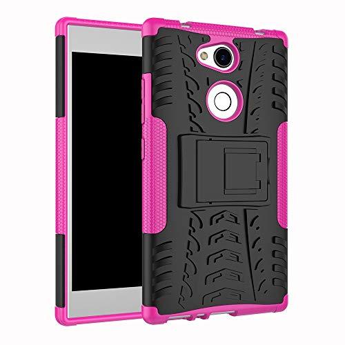 pinlu Funda para Sony Xperia L2 Smartphone Doble Capa Híbrida Armadura Silicona TPU + PC Armor Heavy Duty Case Duradero Protección Neumáticos Patrón Rose Red