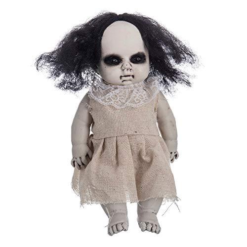 Muñeca diabólica de Halloween Beige de Tela de 16x9x30 cm - LOLAhome
