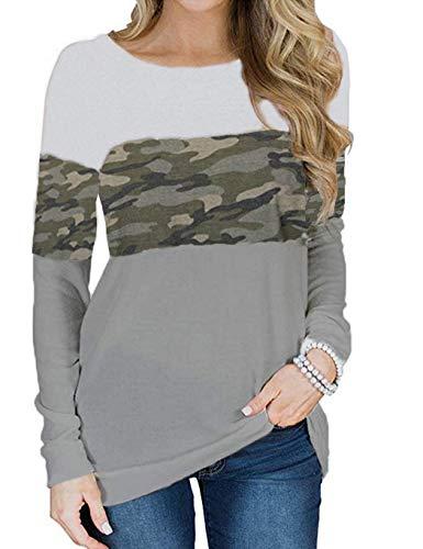 Locryz Camoflauge Sweatshirt Women Long Sleeve Patchwork Shirt Pullover Tops (Camo,L)