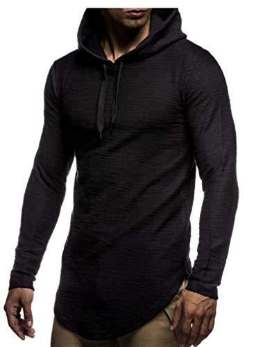LEIF NELSON Men's Oversized Slim Fit Hoodie LN6300; Size S, Black
