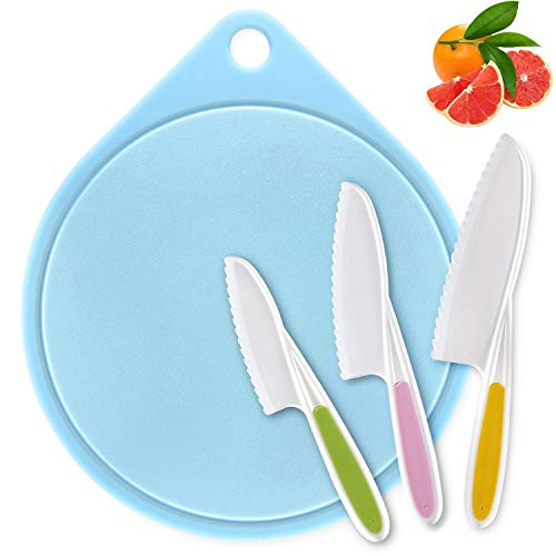 Knife for Kids, Joyoldelf Kitchen Knives Child Safety Knife in 3 Sizes and Plastic Cutting Board/Firm Grip, Serrated Edges, BPA-Free, Colorful Bread Salad Knives (Blue)